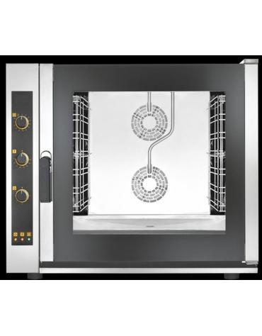Forno elettrico ventilato a convezione con vapore diretto - Pannello elettromeccanico -Capacità 6 Teglie cm 60x40