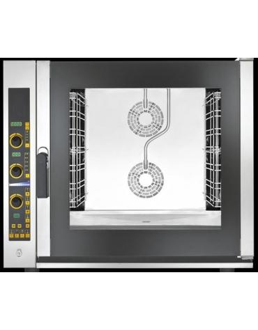 Forno elettrico ventilato a convezione con vapore diretto - Pannello elettronico -Capacità 7 Teglie GN 1/1