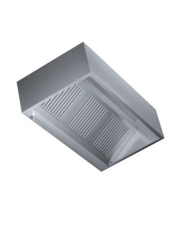 Cappa inox cubica a parete con aspiratore cm. 220x90x40h