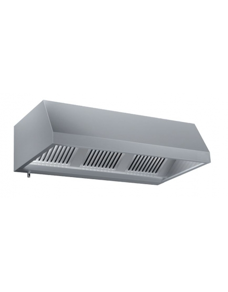 Cappa a parete in acciaio inox con aspiratore cm. 240x90x45h