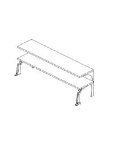 Mensole 2 livelli inox con supporti in acciaio da cm. 198