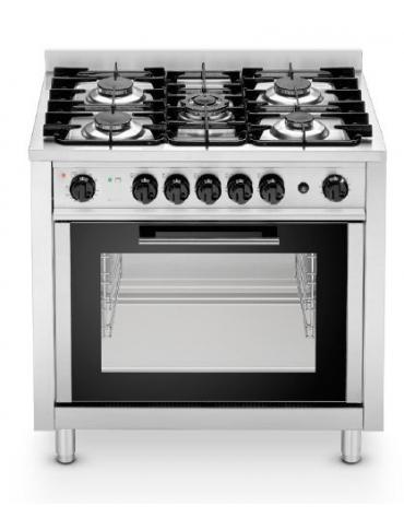 Cucina a gas 5 fuochi su forno elettrico a convezione - cm 90x65,5x90h