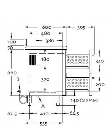 Tavolo refrigerato 2 sportelli cm 147x60x85h