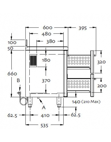 Tavolo refrigerato 4 sportelli cm 249x60x85h