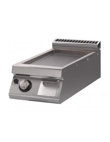 Fry Top a gas con piastra rigata versione top da banco - cm 40x70x28h