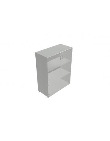 Contenitire medio ante in vetro telaio all. con serratura - cm 90X45X119