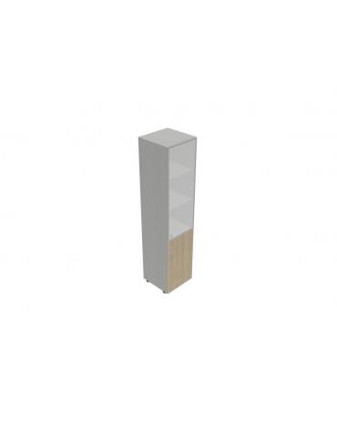 Contenitore alto anta legno/vetro senza serraura - cm 45X45X196