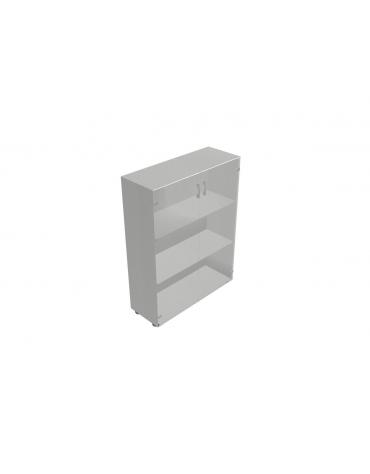Contenitore medio ante in vetro telaio in alluminio senza serratura- cm 90X35X119