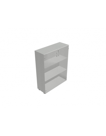 Contenitore medio ante in vetro telaio in alluminio con serratura- cm 90X35X119