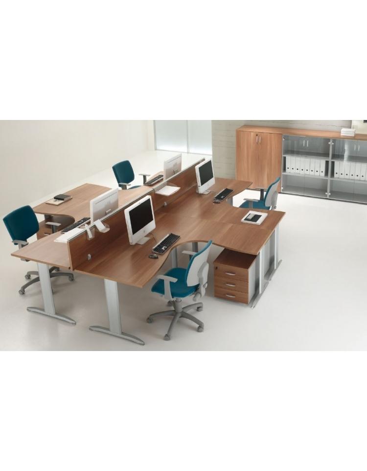 Scrivania workstation a l per ufficio con gambe a t da cm for Scrivania grande da ufficio