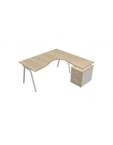 Scrivania Workstation a L con gambe a cavalletto da cm. 160 con classificatore