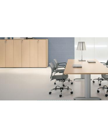 tavolo riunione con gamba a cavalletto e terminali - cm 320x110x72h