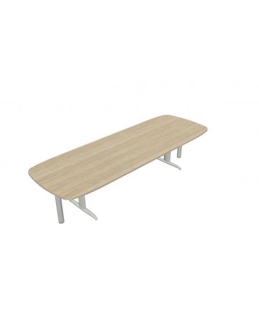 Tavolo riunione con gamba a T e terminali - cm 370x110x72h