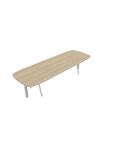Tavolo riunione con gamba a cavalletto e terminale - cm 370x110x72h