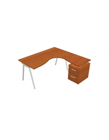 Scrivania Workstation a L per ufficio gambe a cavalletto e classificatore cm. 160/160x80/60x72h