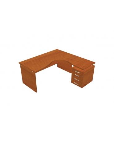 Scrivania Workstation a L con cassettiera per ufficio - cm. 160/160x80/60x72h
