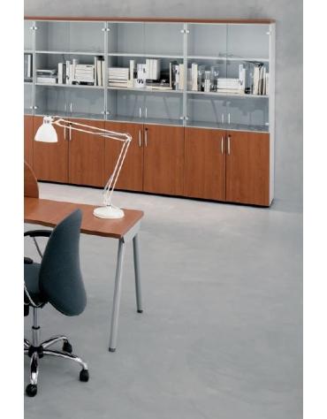 Contenitore alto con anta legno / anta vetro no serratura - cm 90x45x196h
