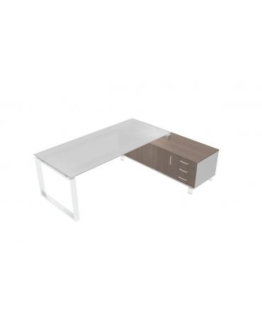 Scrivania ufficio direzionale vetro - gamba chiusa con servente - cm 226x168x72h