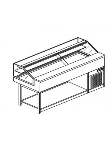 Vetrina fredda vetri dritti bassi da cm. 200 - Refrigerazione ventilata