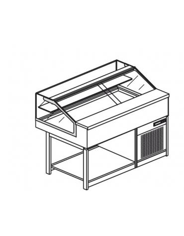 Vetrina fredda vetri dritti bassi da cm. 125 - Refrigerazione ventilata