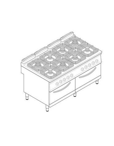 Cucina 4 Fuochi con forno elettrico Dimensioni cm.80x90x90h ...