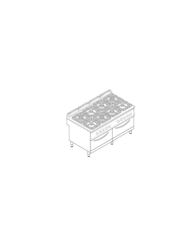 Cucina 8 Fuochi con 2 forni GN2/1 elettrici Dimensioni cm.160x90 ...