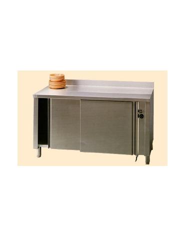 Tavolo armadiato caldo inox con alzatina cm. 160x60x85/90h