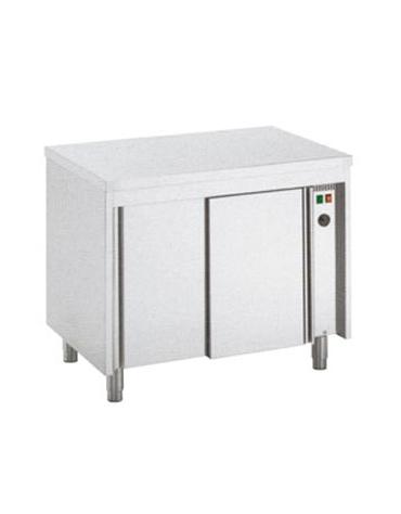 Tavolo armadiato tamburato caldo inox cm. 140x70x85/90h