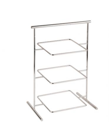 Supporto in acciaio cromato - 3 piani - cm 29x17 x41h