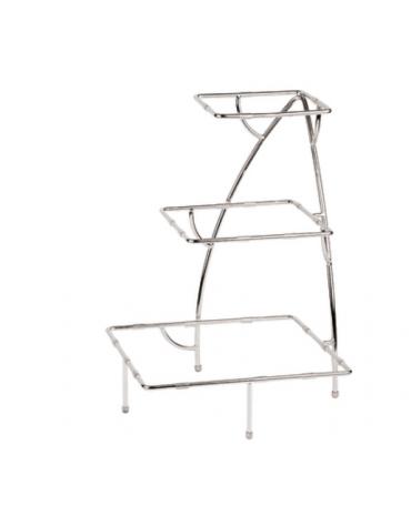 Supporto in acciaio cromato - 3 vassoi - cm 37,5x37,5x50h