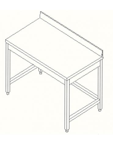 Tavolo inox con cornice e alzatina cm.  130X60X85/90H