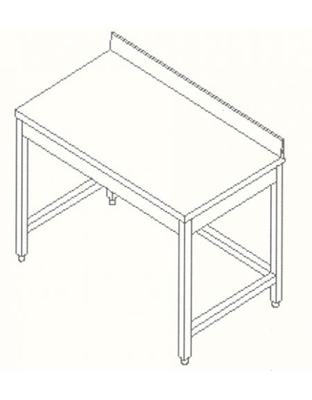 Tavolo inox con cornice e alzatina cm 200x60x85 90h profondit cm 60 con alzatina tavoli - Tavolo profondita 60 cm ...