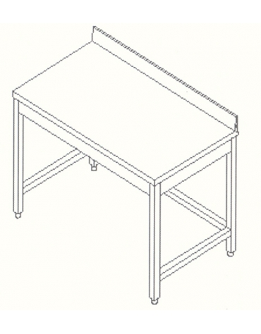 Tavolo inox con cornice e alzatina cm.  100x70x85/90h