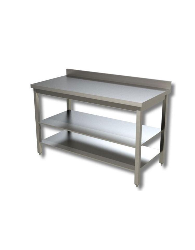 Tavolo inox con due ripiani cm 90x60x85 90h profondit cm 60 con alzatina tavoli inox - Tavolo profondita 60 cm ...