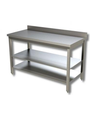 Tavolo inox con due ripiani cm. 160x60x85/90h