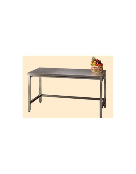 Tavolo inox con cornice su tre lati cm 200x60x85 90h for Tavolo 40x40
