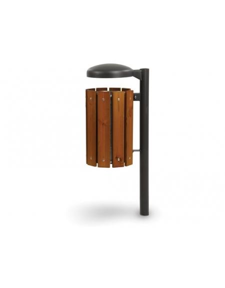 Cestino portarifiuti in legno per esterno con tettuccio - Filo pavimento o da tassellare