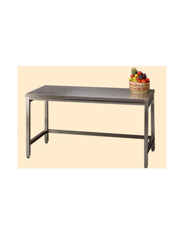 Tavolo inox con cornice su tre lati cm. 180x70x85/90h