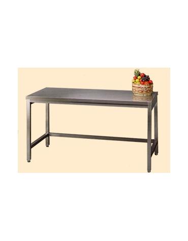 Tavolo inox con cornice su tre lati cm. 270x70x85/90h