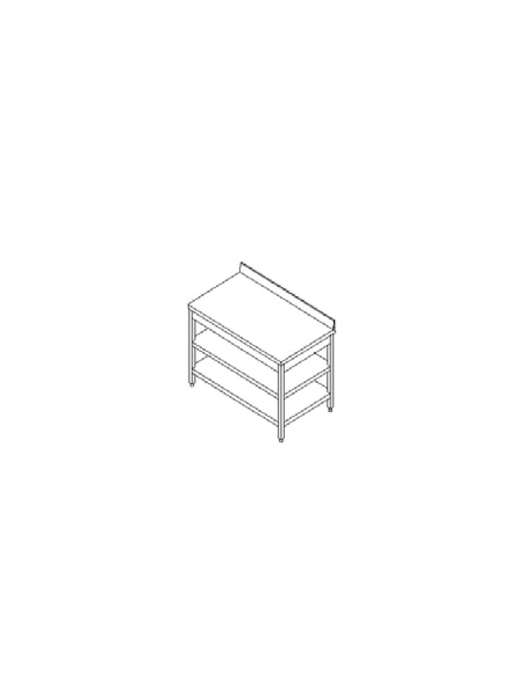 Tavolo inox con due ripiani cm 200x60x85 90h profondit cm 60 con alzatina tavoli inox - Tavolo profondita 60 cm ...