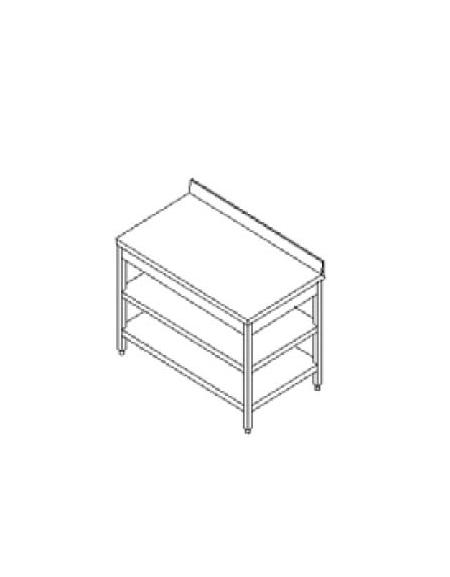 Tavolo inox con due ripiani cm. 280x60x85/90h