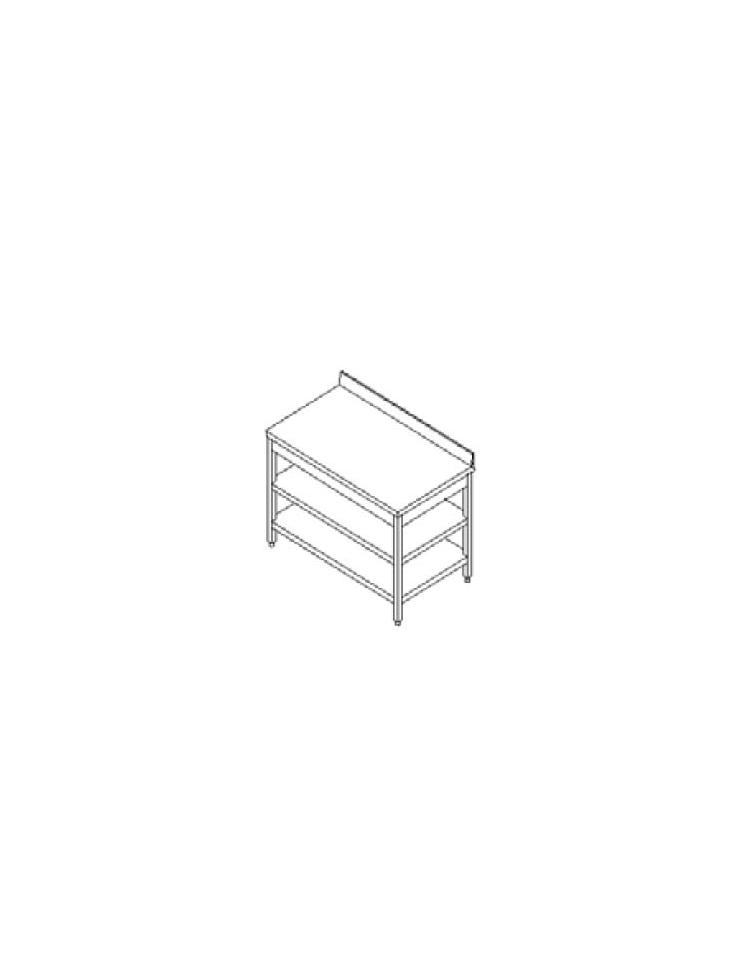 Tavolo inox con due ripiani cm. 230x60x85/90h - Profondità ...