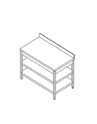 Tavolo inox con due ripiani cm. 200x70x85/90h