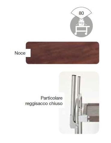 Carrello portabiancheria - Piani in simil legno - N. 3 piani - 1 sacco esterno in tela cm 114x52x106h