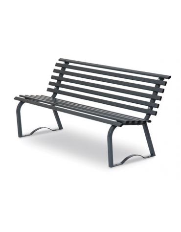 Panchina per parco in tubo d'acciaio colore GRIGIO RAL 7011 cm 150x43x74h