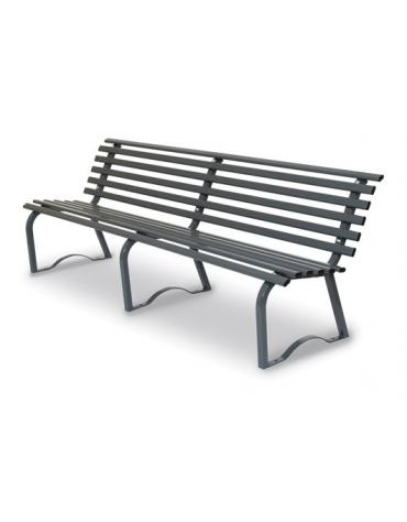 Panchina per parco in tubo d'acciaio colore GRIGIO RAL 7011 cm 200x43x74h