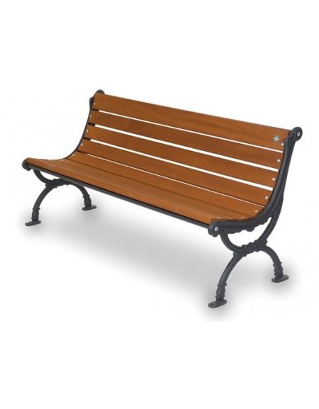 Panchina Firenze con seduta in legno di iroko