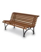 Panchina Europa con seduta in legno di iroko