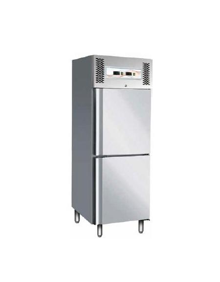 Frigo inox ventilato doppia temperatura 2 8 c 18 22 c cm 68x85x201h positivi 2 8 c - Temperatura frigo casa ...