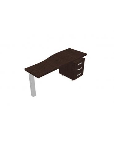 Dattilo direzionale complanare sagomato con cassettiera - cm160x60x73,5h